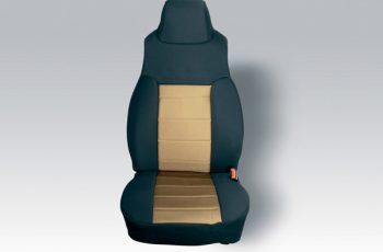 Καλύματα καθισμάτων εμπρός Polly Cotton μαύρο/ μπεζ Wrangler 91-95  (ζευγάρι)